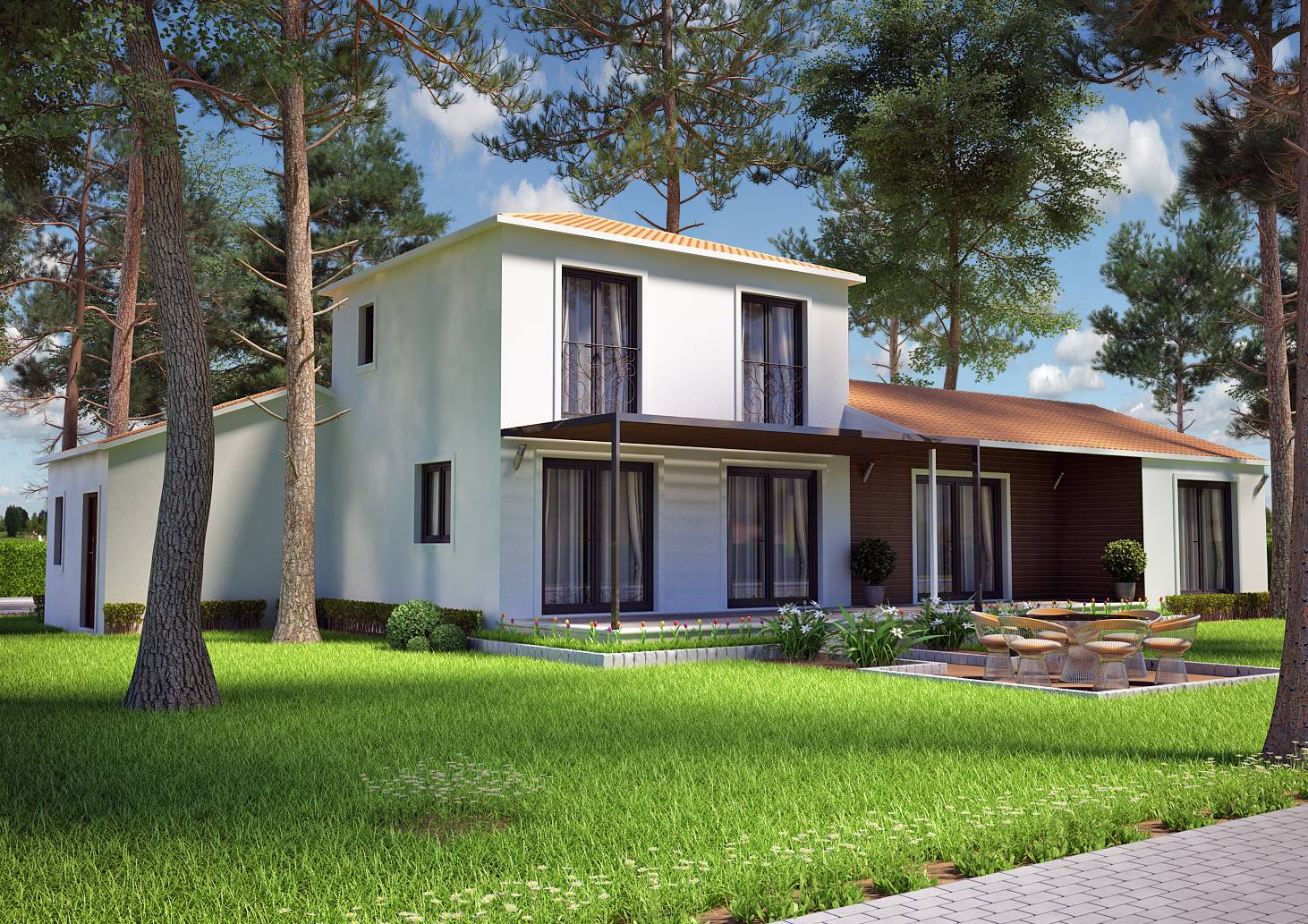 Villa contemporaine 115m2 etage mod le iris salon de for Modele maison 2 etage avec garage
