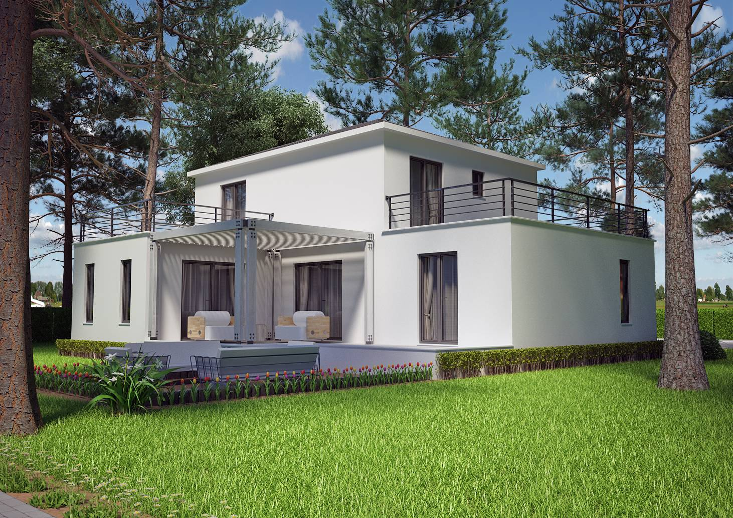 Villa contemporaine 130m2 etage mod le lavande salon for Model de construction maison