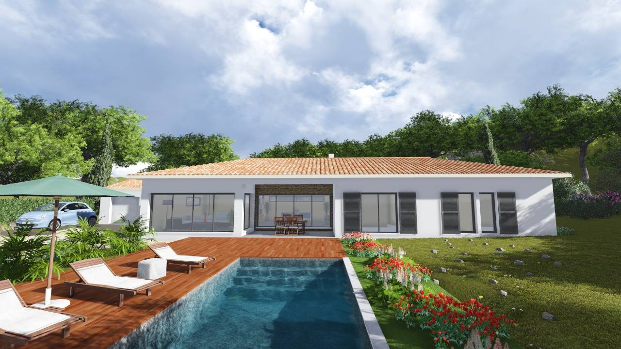 Villa contemporaine 170m2 plain pied mod le glycine for Modele maison plain pied moderne