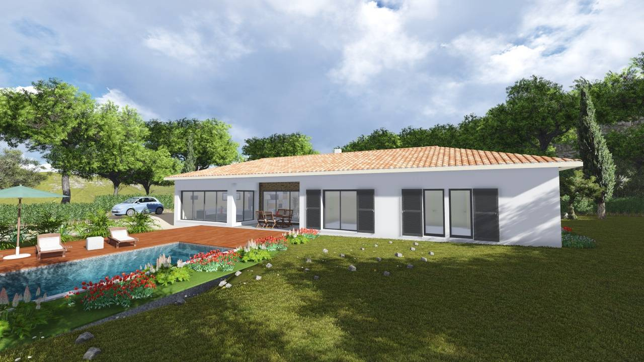 Villa contemporaine 170m2 plain pied mod le glycine for Modele maison plain pied contemporaine