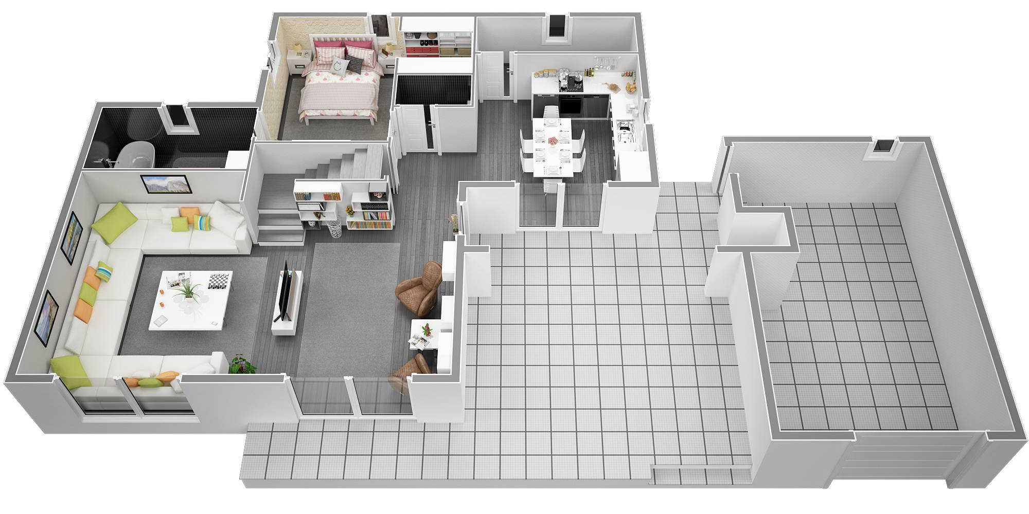 Villa contemporaine 125m2 etage mod le magnolia salon for Villa moderne interieur plan