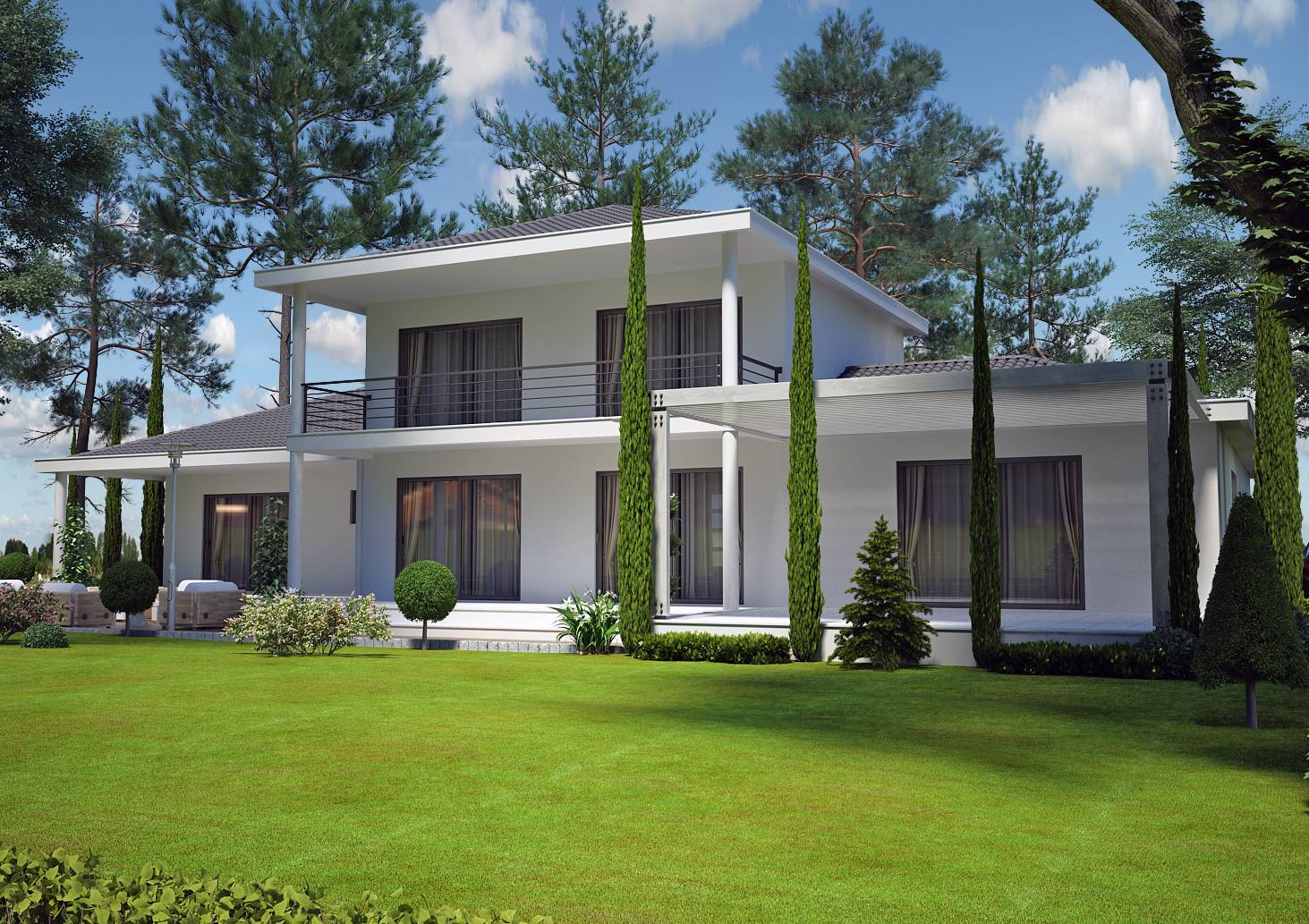 Villa contemporaine 150 m2 etage mod le pinede salon for Exemple de maison moderne
