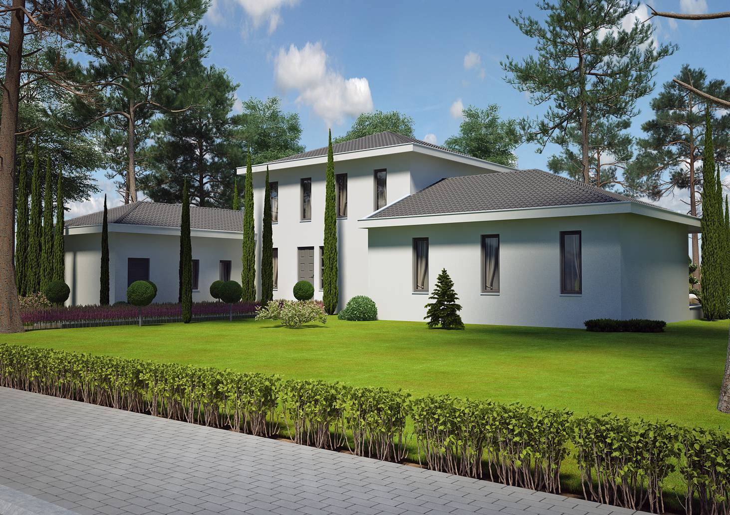 Villa contemporaine 150 m2 etage mod le pinede salon for Modele de construction de maison moderne