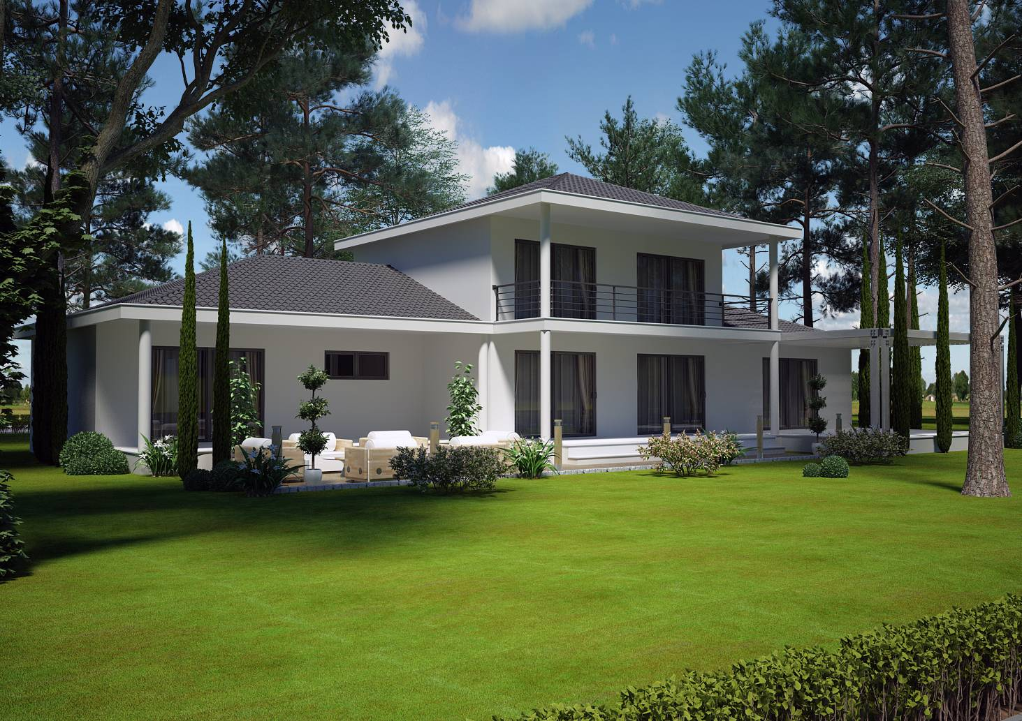 Villa contemporaine 150 m2 etage mod le pinede salon for Modele maison 2 etage avec garage