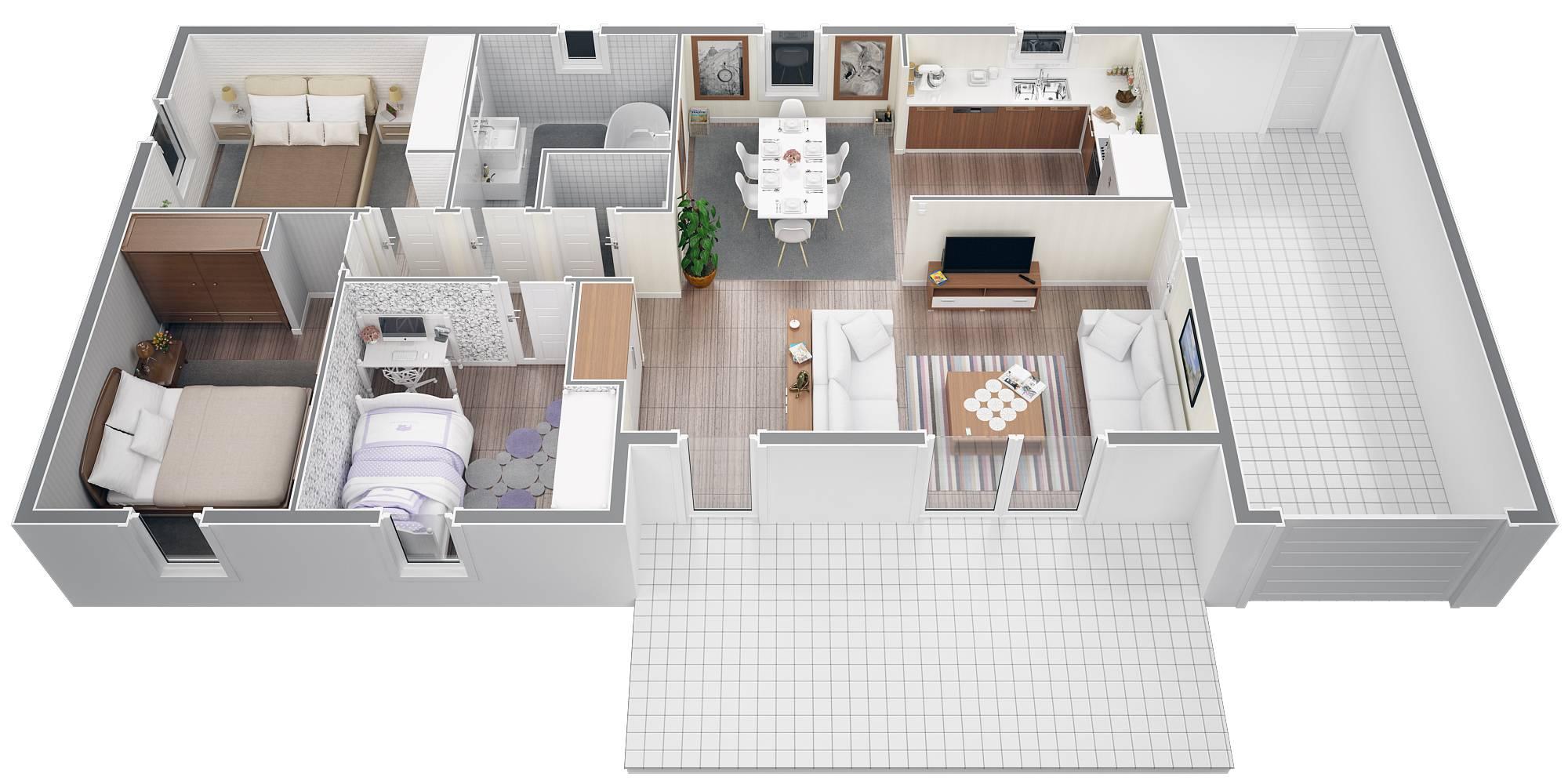 Plan maison 3d sur tablette