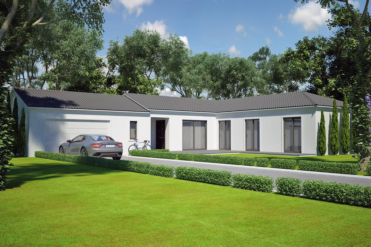 Villa contemporaine 110 m2 plain pied mod le saphir for Cout construction maison 120m2