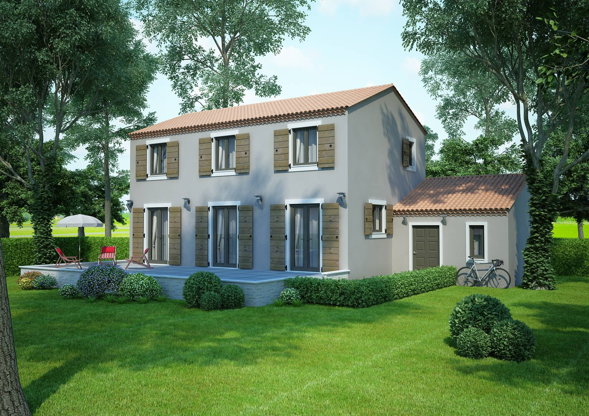 Mod le villa traditionnelle 100m2 tage r alisable dans for Modele de villa