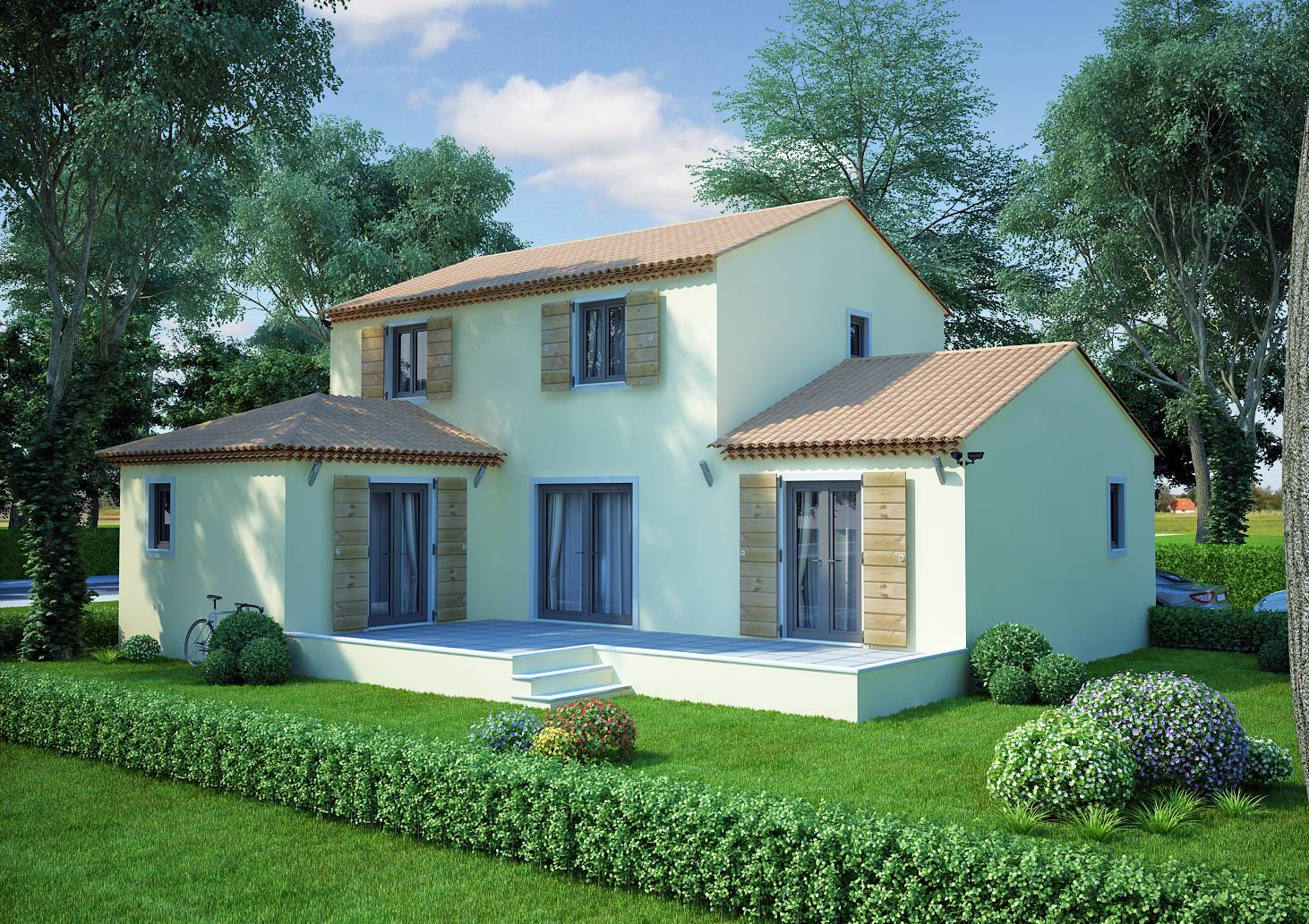 Maison en l de 130m2 lavande traditionnel azur logement for De maison en maison