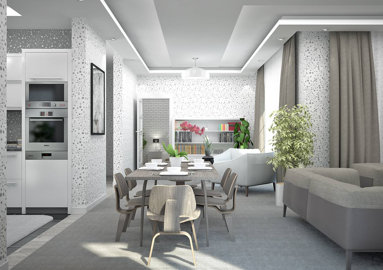 Amenagement salon sejour cuisine 40m2 id e for Amenagement separation cuisine salle a manger