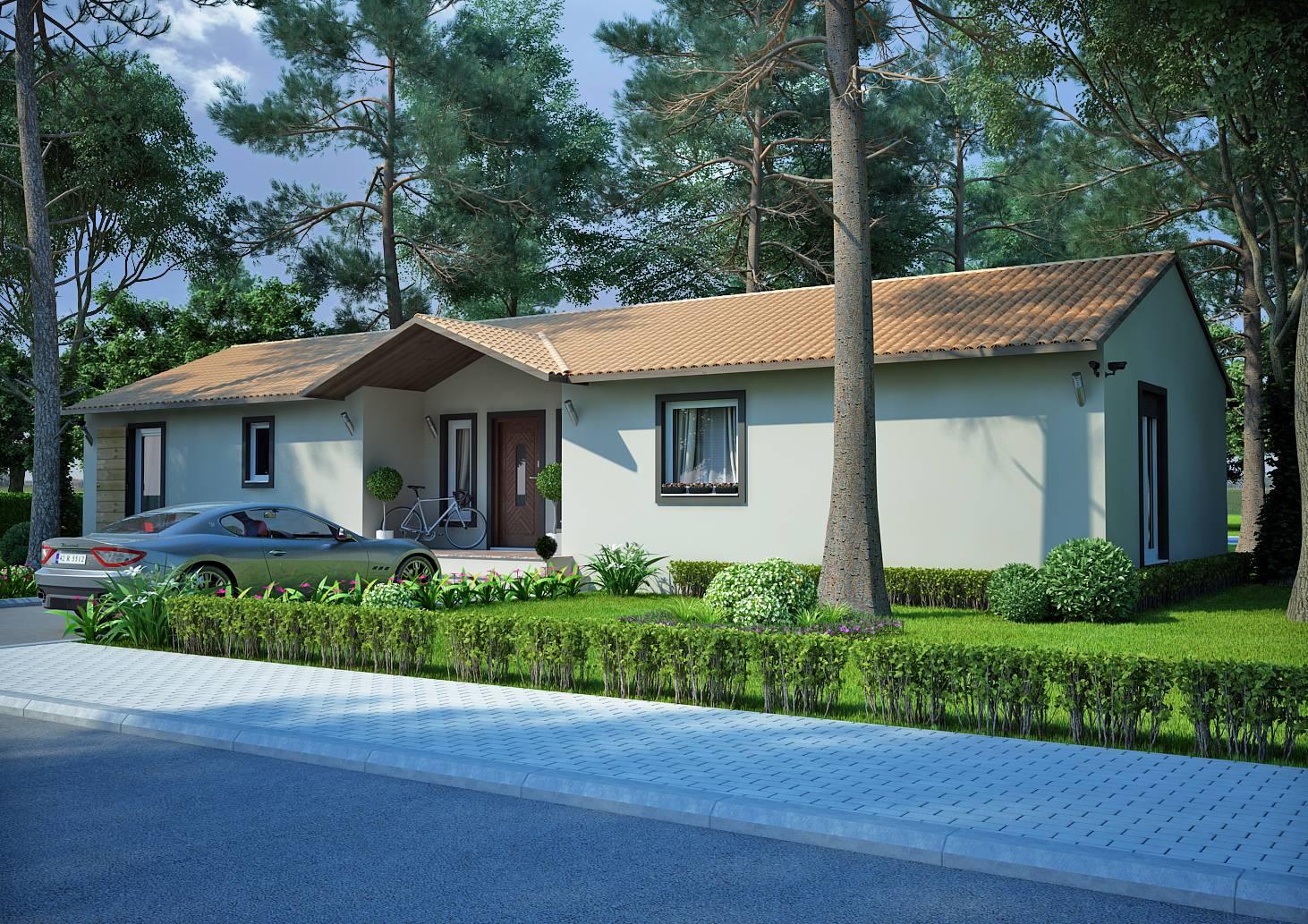 Mod le de plans de villa de construction traditionnelle de for Maison traditionnelle 100m2