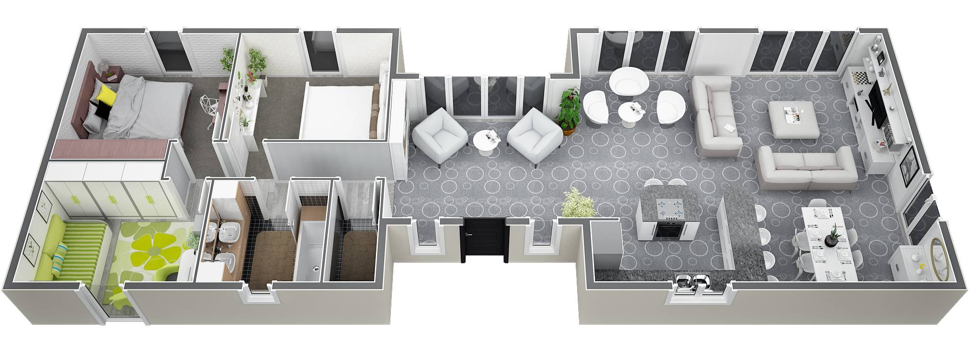 Mod le de plans de villa de construction traditionnelle de - Plan maison plain pied 3 chambres 100m2 ...