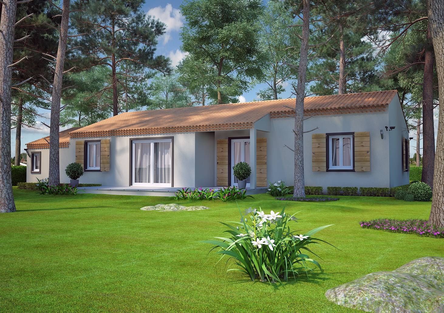 Mod le de construction traditionnelle de 90m2 de plain for Modele maison contemporaine plain pied