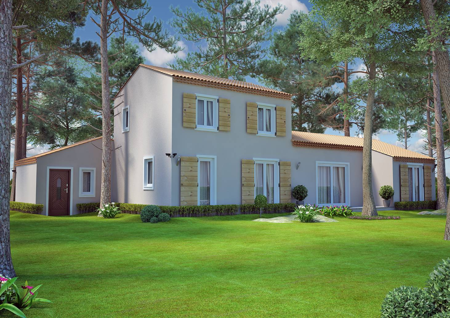 Mod le de villa de type traditionnel de 115m2 tage dans for Modele de villa