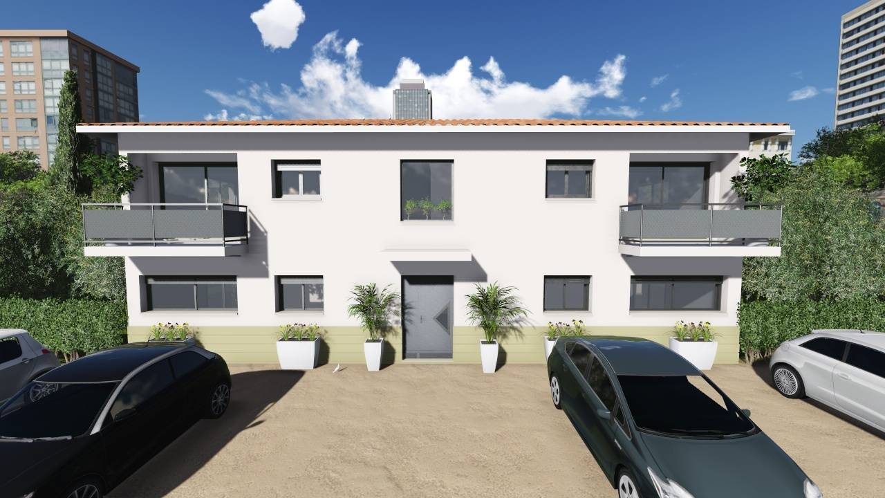 R alisation d 39 un collectif de 4 appartements t2 et t3 for Maison appartement