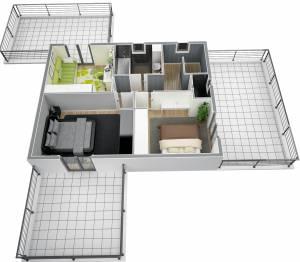 Vue ensemble RdC modèle villa Moderne Lavande