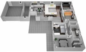 Vue en plan d'une maison moderne a salon de provence 13300 BdR