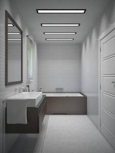 Salle d'eau avec meuble suspendu et baignoire maison contemporain 13300