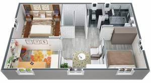 Plan modèle FUSCHIA vue Etage