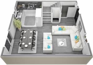 Villa Cyprés vue 2 RdC Salon / Séjour / Cuisine par Azur Logement Provencal