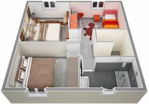 Vue ensemble étage villa cyprés