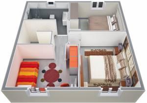Vue ensemble étage Maison Cyprés